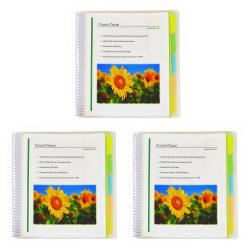 "C-Line 10-Pocket Poly Portfolios With Write-On Index Tabs, 8-1/2"" x 11"", 5-Tab, Clear, Pack Of 3 Portfolios"