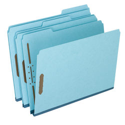 Pendaflex® Heavy-Duty Pressboard Folders With Embossed Fasteners, Letter Size, 100% Recycled, Blue, Pack Of 25