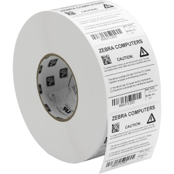 """Zebra Label Polyester 2 x 1in Thermal Transfer Zebra Z-Ultimate 4000T 3 in core - 2"""" Width x 1"""" Length - Permanent Adhesive - Rectangle - Thermal Transfer - White - Acrylic, Polyester - 5570 / Roll - 4 / Roll"""