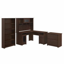Bush Furniture Cabot L-Shaped Desk With Hutch, Lateral File Cabinet And 5-Shelf Bookcase, Modern Walnut, Standard Delivery