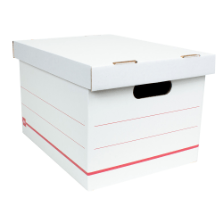 "Office Depot® Brand Standard-Duty Corrugated Storage Boxes, Letter/Legal Size, 15"" x 12"" x 10"",  60% Recycled, White/Red, Case Of 10"