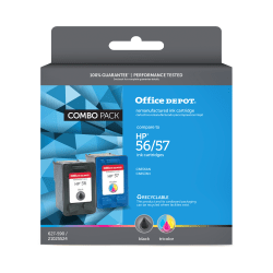 Office Depot® Brand 56-57 Remanufactured Ink Cartridge Replacement For HP 56/57 Black/Tricolor Pack Of 2