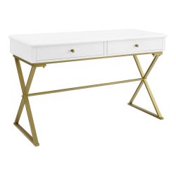 "Linon Home Decor Products Amy 48""W Campaign Home Office Desk, White/Gold"