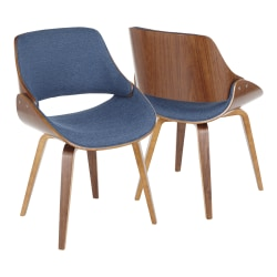 LumiSource Fabrizzi Dining Chair, Walnut/Blue Denim