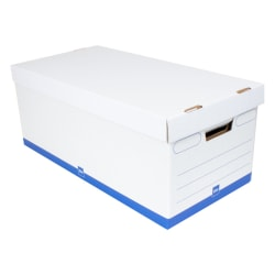 "Office Depot® Brand Medium Quick Set Up Corrugated Storage Boxes, Letter Size, 24"" x 12"" x 10"", 60% Recycled, White/Blue, Case Of 12"