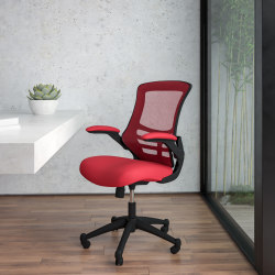 Flash Furniture Mesh Mid-Back Swivel Task Chair With Flip-Up Arms, Red/Black