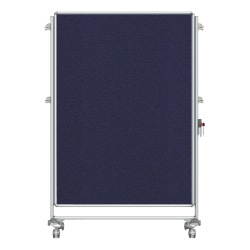 "Ghent Nexus Partition Double-Sided Mobile Magentic Fabric/Dry-Erase/Bulletin Board, 46 1/4"" x 65"" Blue Board/Silver Aluminum Frame"