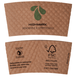 Highmark® Compostable Breakroom Hot Cup Sleeves, 85% Recycled, Kraft, Box Of 1,300