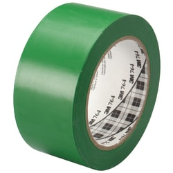 "3M™ 764 Vinyl Tape, 3"" Core, 2"" x 36 Yd., Green, Case Of 6"