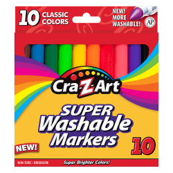 Cra-Z-Art Classic Super Washable Markers, Broad Tip, Assorted Barrel, Assorted Ink, Pack Of 10 Markers