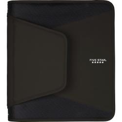 "Mead® Tech Zipper 3-Ring Binder, 1 1/2"" Round Rings, Black"
