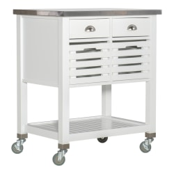 "Linon Sherwood Kitchen Cart, 36-1/4""H x 30""W x 22""D, White/Stainless Steel"