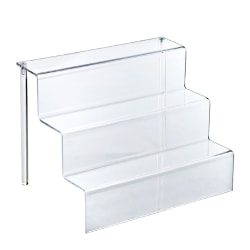 """Azar Displays 3-Tier Step Display Stands, 8 3/4""""H x 12""""W x 8 1/2""""D, Clear, Pack Of 4"""