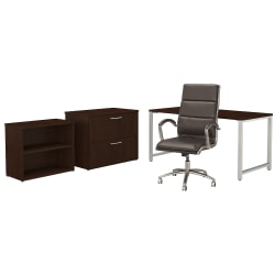 "Bush Business Furniture 400 Series 60""W x 30""D Table Desk And Chair Set With Storage, Mocha Cherry, Premium Installation"