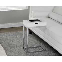 Monarch Specialties Accent Table With Side Drawer, Glossy White/Chrome