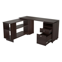 "Inval America 54""W L-Shaped Computer Desk, Espresso"