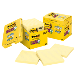 "Post-it® Super Sticky Notes, 4"" x 4"", Canary Yellow, Lined, Pack Of 12 Pads"