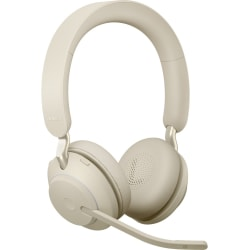 Jabra Evolve2 65 Uc Stereo Headset On Ear Bluetooth Wireless Usb A Noise Isolating Beige Office Depot