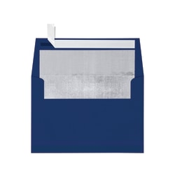"LUX Invitation Envelopes With Peel & Press Closure, A7, 5 1/4"" x 7 1/4"", Navy/Silver, Pack Of 500"