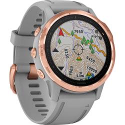 "Garmin fēnix 6S Sapphire GPS Watch - Wrist - 32 GB - 1.2"" - 240 x 240 - Touchscreen - Bluetooth - Wireless LAN - GPS - 480 Hour - Round - 1.65"" - Rose Gold Case - Powder Gray Band - Sapphire Crystal Lens"