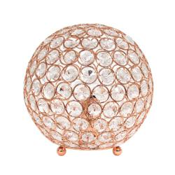"Elegant Designs Crystal Ball Table Lamp, 8""H, Rose Gold"