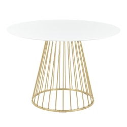 """LumiSource Canary Dining Table, 29-1/2""""H x 43-1/2""""W x 43-1/2""""D, White/Gold"""