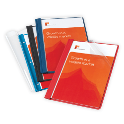 Office Depot® Brand Clear-Front Report Covers, Assorted Colors, Pack Of 10