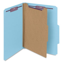 """Smead® Classification Folders, Pressboard With SafeSHIELD® Fasteners, 1 Divider, 2"""" Expansion, Letter Size, 50% Recycled, Blue, Box Of 10"""