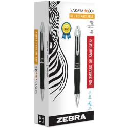 Zebra® GR8 Gel-Ink Retractable Rollerball Pens, Medium Point, 0.7 mm, Black Barrel, Black Ink, Pack Of 12