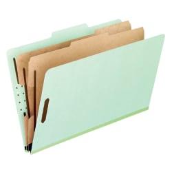 "Pendaflex® Pressboard Classification Folders, 8 1/2"" x 11"", Letter Size, 2 Dividers, 30% Recycled, Corona Green, Box Of 10"