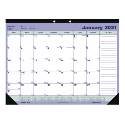 "Blueline® Classic Monthly Desk Pad Calendar, 16"" x 21-1/4"", January to December 2021, C181731"