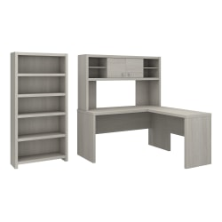 kathy ireland® Office by Bush Business Furniture Echo L Shaped Desk With Hutch And 5 Shelf Bookcase, Gray Sand, Premium Installation
