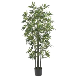 Nearly Natural 6'H Silk Bamboo Tree With Pot, Green