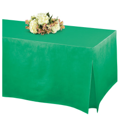 """Amscan Flannel-Backed Vinyl Fitted Table Cover, 27""""H x 31""""W x 72""""D, Festive Green"""