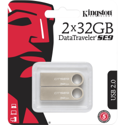 Kingston 32GB USB 2.0 DataTraveler SE9 (Metal casing) (2 Pack) - 32 GB - USB 2.0 Type A - 100 MB/s Read Speed - Silver - 5 Year Warranty - 2 Pack