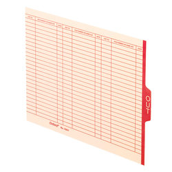 "Pendaflex® End-Tab ""Out"" Cards, Letter Size, Manila/Red, Pack Of 100 Cards"