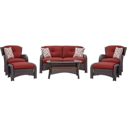 Hanover Strathmere 6-Piece Seating Set, Crimson Red