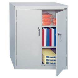 "Sandusky 42"" Steel Storage Cabinet With 2 Adjustable Shelves, 42""H x 36""W x 18""D, Dove Gray"