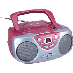 Sylvania Portable CD Radio - 1 x Disc - Pink - 20 Programable Tracks - CD-DA