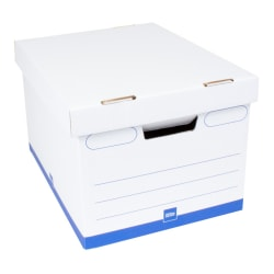 """Office Depot® Brand Medium Quick Set Up Corrugated Medium-Duty Storage Boxes With Lift-Off Lids And Built-In Handles, Letter/Legal Size, 15"""" x 12"""" x 10"""", 60% Recycled, White/Blue, Case Of 10"""