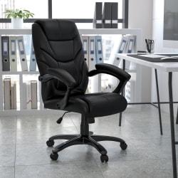 Flash Furniture Overstuffed Bonded LeatherSoft™ High-Back Swivel Chair, Black