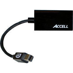 Accell UltraAV Mini DisplayPort 1.1 to HDMI 1.4 Passive Adapter - HDMI/Mini DisplayPort A/V Cable for Audio/Video Device - First End: 1 x Mini DisplayPort Male Digital Audio/Video - Second End: 1 x HDMI Female Digital Audio/Video - Shielding - Black