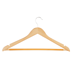 """Honey-Can-Do Suit Hangers, 9 3/8""""H x 1/2""""W x 17 1/2""""D, Natural, Pack Of 10"""