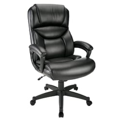 Realspace® Fennington Bonded Leather High-Back Executive Chair, Black