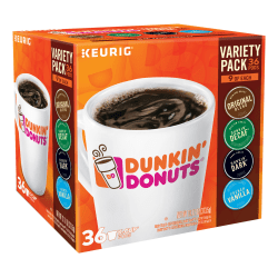 Dunkin' Donuts Coffee Single-Serve K-Cup® Variety Pack, 15.2 Oz, Carton Of 36