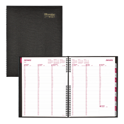 "Brownline® CoilPro Weekly Appointment Book, 11"" x 8 1/2"", 50% Recycled, FSC® Certified, Black, January to December 2021"