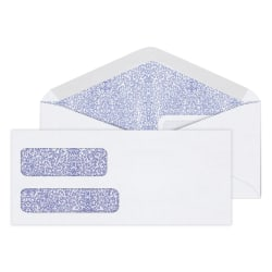 "Office Depot® Brand Double-Window Envelopes, #9, 3 7/8"" x 8 7/8"", White, Moisture Seal, Box Of 500"