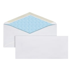 "Office Depot® Brand Security Envelopes, #10, 4 1/8"" x 9 1/2"", White, Box Of 500 Envelopes"