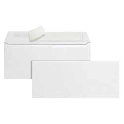 "Office Depot® Brand Clean Seal™ Business Envelopes, #10, 4-1/8"" x 9-1/2"", White, Box Of 500 Envelopes"
