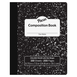 "Pacon Composition Book, 9-13/16"" x 7-1/2"", College Rule, 100 Sheets, Black Marble"
